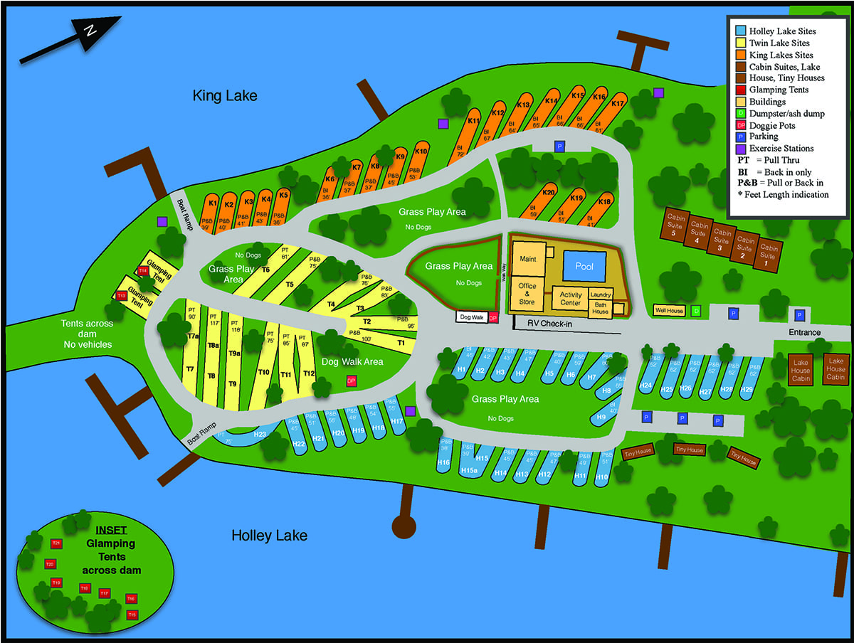 Map of Twin Lakes Camp Resort
