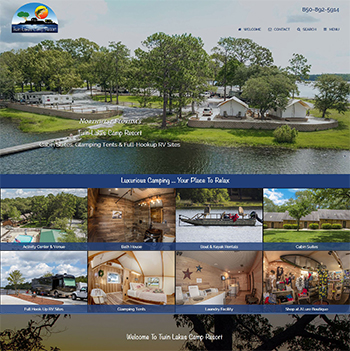 Twin Lakes Camp Resort Website Screen Shot